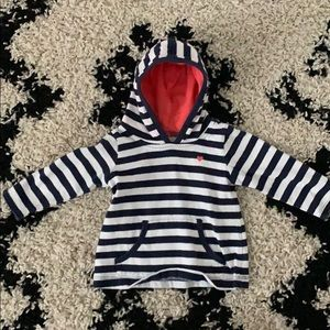 Carters Navy blue & white striped hoodie 6 mo